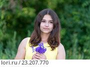 Купить «Girl 14 years old with bouquet of wildflowers», фото № 23207770, снято 2 июля 2016 г. (c) Володина Ольга / Фотобанк Лори