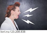 Купить «Злая учительница кричит на фоне школьной доски», фото № 23208838, снято 29 июня 2016 г. (c) Darkbird77 / Фотобанк Лори