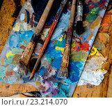 Купить «Палитра художника и грязные кисти», фото № 23214070, снято 15 ноября 2018 г. (c) Кузнецов Дмитрий / Фотобанк Лори