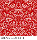 Купить «Бесшовный красный фон с узором мандала», иллюстрация № 23214314 (c) Бражников Андрей / Фотобанк Лори