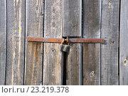 Купить «Старые ворота с замком», фото № 23219378, снято 14 июня 2016 г. (c) Дмитрий Грушин / Фотобанк Лори
