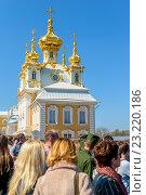 Купить «Очередь в кассы Нижнего парка Петергофа на фоне церкви», фото № 23220186, снято 2 мая 2016 г. (c) Sergei Gushchin / Фотобанк Лори