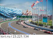 Купить «Формула-1 Гран-при Сочи. Вид с трибуны Т3 Даниила Квята», фото № 23221134, снято 1 мая 2016 г. (c) Ирина Дружина / Фотобанк Лори