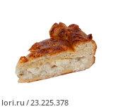 Кусок рыбного пирога  на белом фоне. Стоковое фото, фотограф Косяков Д. / Фотобанк Лори