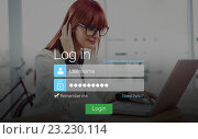 Купить «Login screen with redheaded woman and laptop», фото № 23230114, снято 17 января 2019 г. (c) Wavebreak Media / Фотобанк Лори