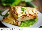 Купить «Тосты запеченные с колбасой, сыром и огурцом», фото № 23231694, снято 7 июня 2016 г. (c) Peredniankina / Фотобанк Лори
