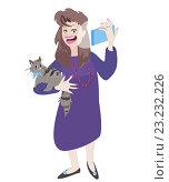 Купить «Женщина фотографирует себя с кошкой. Селфи», иллюстрация № 23232226 (c) М Б / Фотобанк Лори