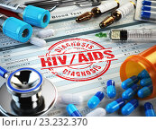 Купить «HIV AIDS diagnosis. Stamp, stethoscope, syringe, blood test and pills on the clipboard with medical report.», фото № 23232370, снято 21 мая 2019 г. (c) Maksym Yemelyanov / Фотобанк Лори