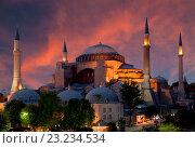 Купить «Вид на Собор Святой Софии на закате, Стамбул, Турция», фото № 23234534, снято 14 июня 2013 г. (c) Наталья Волкова / Фотобанк Лори