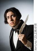 Купить «Funny writer with quill in vintage concept», фото № 23238618, снято 31 июля 2015 г. (c) Elnur / Фотобанк Лори