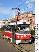 Купить «Старый городской трамвай Татра Т3», фото № 23240862, снято 11 июля 2016 г. (c) Абрамов Роман Николаевич / Фотобанк Лори