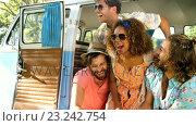 Купить «Group of hipster friends watching smartphone and laughing », видеоролик № 23242754, снято 14 декабря 2018 г. (c) Wavebreak Media / Фотобанк Лори