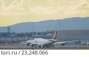 Купить «Boeing 747 accelerate before take-off from Frankfurt», видеоролик № 23248066, снято 4 сентября 2015 г. (c) Игорь Жоров / Фотобанк Лори