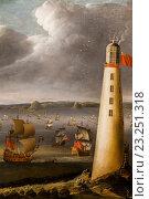 Купить «England, London, Greenwich, National Maritime Museum, Painting of Eddystone Lighthouse by Isaac Sailmaker dated 1708», фото № 23251318, снято 11 июля 2016 г. (c) age Fotostock / Фотобанк Лори