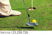 Купить «close up of man with club and ball playing golf», фото № 23258726, снято 30 августа 2015 г. (c) Syda Productions / Фотобанк Лори