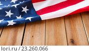 Купить «close up of american flag on wooden boards», фото № 23260066, снято 6 мая 2016 г. (c) Syda Productions / Фотобанк Лори