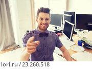Купить «happy male office worker pointing finger at you», фото № 23260518, снято 29 марта 2015 г. (c) Syda Productions / Фотобанк Лори