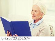 Купить «happy smiling senior woman reading book at home», фото № 23260574, снято 10 июля 2015 г. (c) Syda Productions / Фотобанк Лори