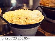Купить «bowl of rice noodles garnish at asian restaurant», фото № 23260854, снято 15 февраля 2015 г. (c) Syda Productions / Фотобанк Лори