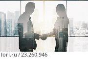 Купить «business partners silhouettes making handshake», фото № 23260946, снято 22 октября 2019 г. (c) Syda Productions / Фотобанк Лори