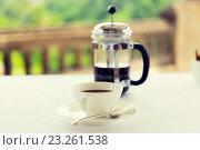 Купить «cup of coffee and french press on table», фото № 23261538, снято 21 февраля 2015 г. (c) Syda Productions / Фотобанк Лори