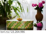 Зеленая подарочная коробка на столе на фоне цветов. Стоковое фото, фотограф Наталья Чумакова / Фотобанк Лори