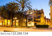 Купить «Twilight view of Rambla passage at Badalona», фото № 23288134, снято 23 мая 2018 г. (c) Яков Филимонов / Фотобанк Лори