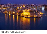 Купить «The night view of Senglea peninsula from Valletta, Malta», фото № 23293234, снято 28 июля 2015 г. (c) Serg Zastavkin / Фотобанк Лори