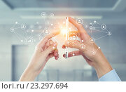 Купить «Devices connecting people . Mixed media», фото № 23297694, снято 21 апреля 2019 г. (c) Sergey Nivens / Фотобанк Лори