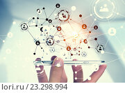 Купить «Devices connecting people . Mixed media», фото № 23298994, снято 7 июня 2013 г. (c) Sergey Nivens / Фотобанк Лори