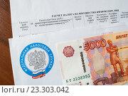 Купить «Расчет налога на имущество, конверт с эмблемой налоговой службы и пять тысяч рублей», фото № 23303042, снято 24 июля 2016 г. (c) Зезелина Марина / Фотобанк Лори