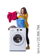 Купить «Woman tired after doing laundry isolated on white», фото № 23306766, снято 13 мая 2016 г. (c) Elnur / Фотобанк Лори