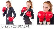Купить «Woman businesswoman with boxing gloves on white», фото № 23307274, снято 2 октября 2013 г. (c) Elnur / Фотобанк Лори