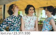 Купить «Три подружки общаются», видеоролик № 23311930, снято 5 мая 2016 г. (c) Илья Шаматура / Фотобанк Лори