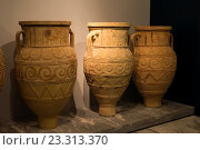 Купить «Archaic pithoi, storage containers, at the archeological museum in Heraklion, Crete, Greece.», фото № 23313370, снято 1 июня 2016 г. (c) age Fotostock / Фотобанк Лори