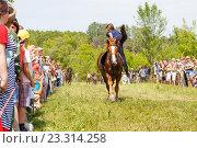 Купить «Девочка казачка скачет на лошади», фото № 23314258, снято 18 июня 2016 г. (c) Акиньшин Владимир / Фотобанк Лори