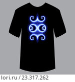 Узор на футболку, пример для применения. Синий неоновый рисунок на черной футболке. Светящийся, модный, современный стиль. Универсальное применение на текстиль, ткань, предмет, бумагу. Стоковая иллюстрация, иллюстратор Dmitry Domashenko / Фотобанк Лори