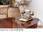 Старинный телефон стоит на столе. Стоковое фото, фотограф Татьяна Ляпи / Фотобанк Лори