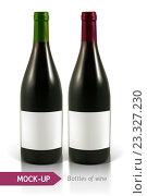 Купить «Две тёмные бутылки с этикетками на белом фоне», иллюстрация № 23327230 (c) Шильникова Дарья / Фотобанк Лори