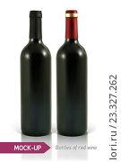 Купить «Две бутылки красного вина на белом фоне», иллюстрация № 23327262 (c) Шильникова Дарья / Фотобанк Лори