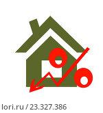 Купить «Красный знак процента на фоне жилого дома», иллюстрация № 23327386 (c) Сергеев Валерий / Фотобанк Лори