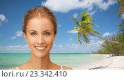 Купить «close up of beautiful woman with half face tanned», фото № 23342410, снято 16 сентября 2012 г. (c) Syda Productions / Фотобанк Лори
