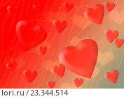 Свадебный фон с сердечками на градиентном красно-сером абстрактном фоне. Стоковая иллюстрация, иллюстратор Николай Полыгалин / Фотобанк Лори