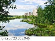 Купить «Большой Южный пруд в районе Северный в Москве», эксклюзивное фото № 23355946, снято 11 июля 2016 г. (c) Алёшина Оксана / Фотобанк Лори