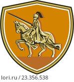 Купить «Рыцарь верхом на коне, эмблема в форме щита», иллюстрация № 23356538 (c) Aloysius Patrimonio / Фотобанк Лори