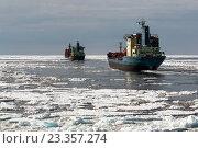 Купить «Караван танкеров на Северном морском пути за ледоколом», фото № 23357274, снято 19 июля 2016 г. (c) Василий Князев / Фотобанк Лори