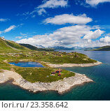 Купить «Amazing aerial view of scenic Norway islands.», фото № 23358642, снято 21 июля 2016 г. (c) Andrejs Pidjass / Фотобанк Лори