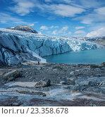 Купить «Scenic view of Jostedalsbreen glacier.», фото № 23358678, снято 22 июля 2016 г. (c) Andrejs Pidjass / Фотобанк Лори
