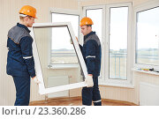 Купить «windows installation workers», фото № 23360286, снято 5 февраля 2016 г. (c) Дмитрий Калиновский / Фотобанк Лори