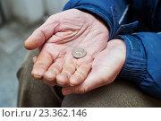 Купить «hands of beggar with us cent coin begging for money», фото № 23362146, снято 30 декабря 2015 г. (c) Дмитрий Калиновский / Фотобанк Лори